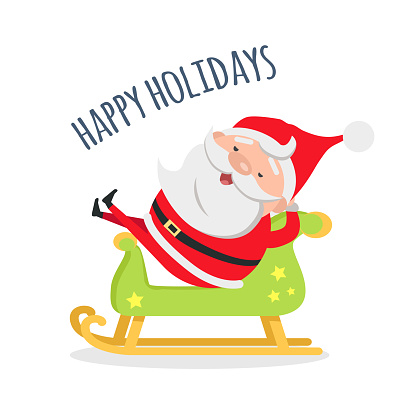 Santa Relax by Riding Wooden Green Sleigh Holidays