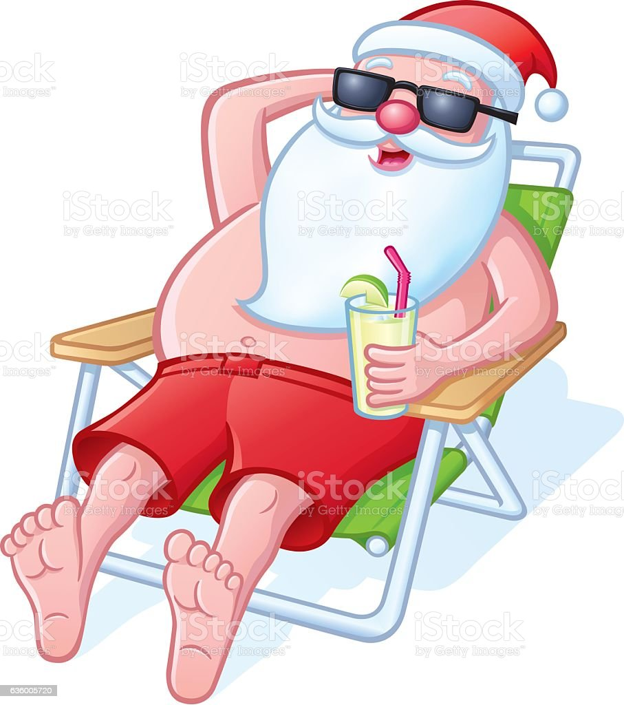 Santa Relaxing On A Beach Chair Stock Illustration ...