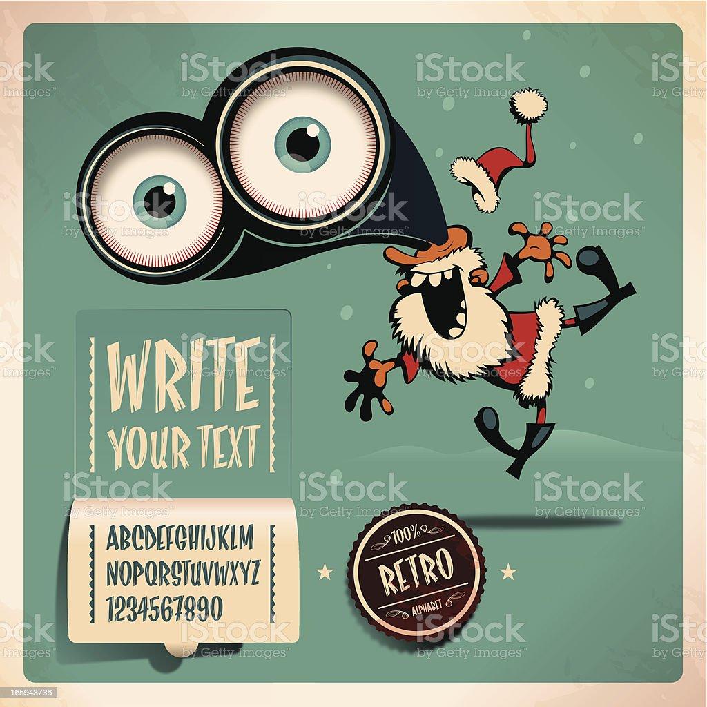 santa retro alphabet vector art illustration