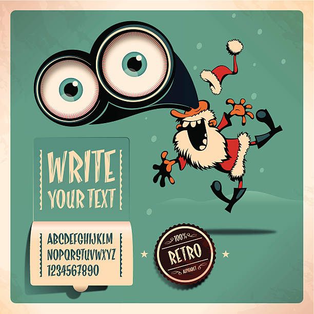 santa retro alphabet - old man funny cartoon stock illustrations, clip art, cartoons, & icons