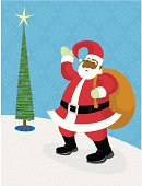 Hey, who's the fat guy with the big sack and silly red suit? It's Santa! Nice blue snowflake pattern background too!