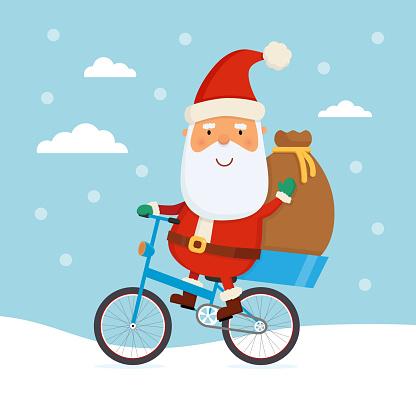 Santa riding a bicycle