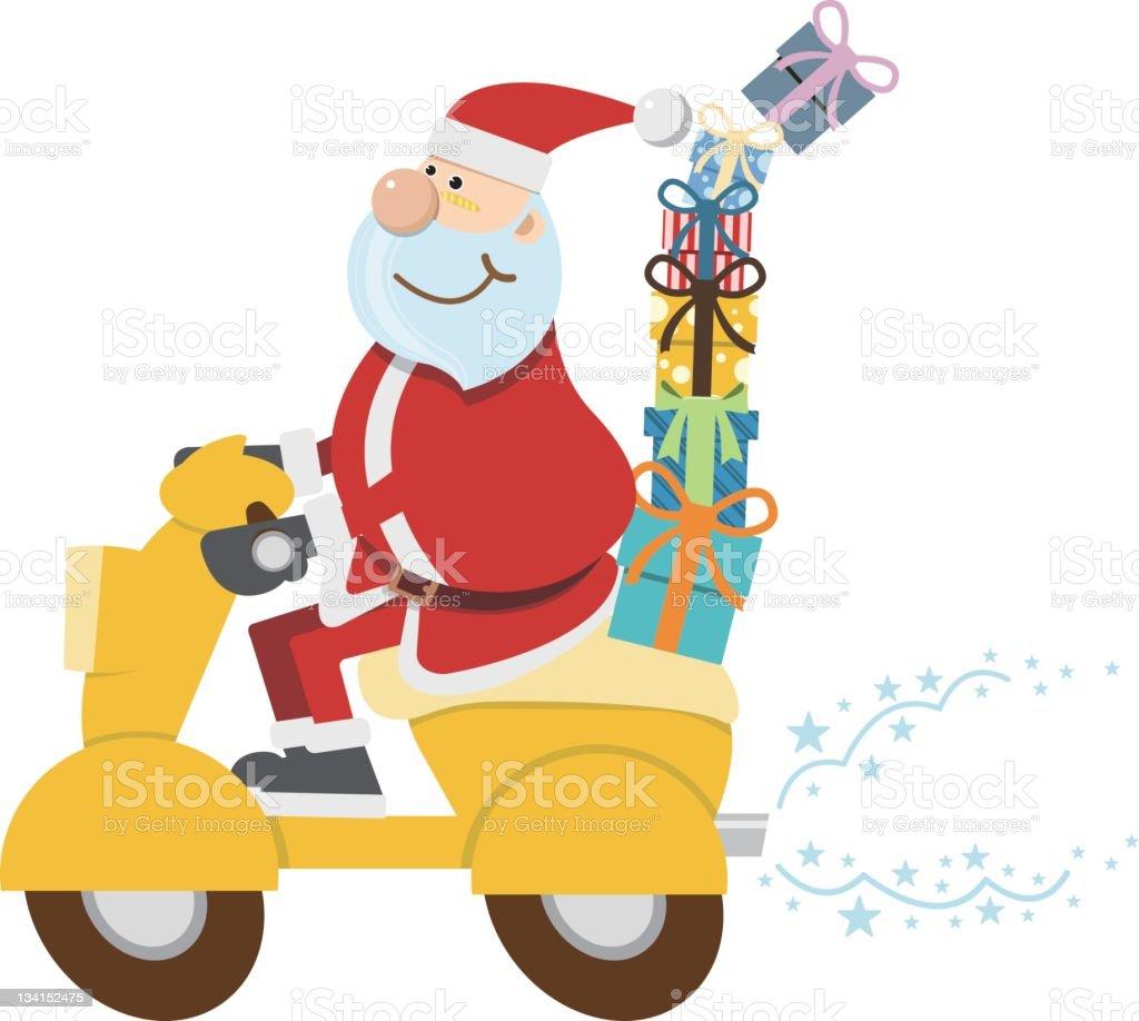 Santa Riding A Motorcycle Carrying Gifts Stock Vector Art & More ...