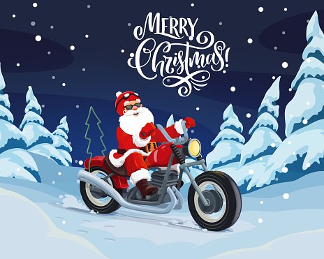 Santa riding motorbike to deliver Christmas gifts