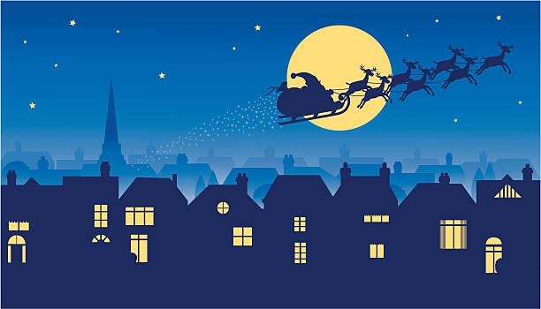 bildbanksillustrationer, clip art samt tecknat material och ikoner med santa riding reindeer sleigh on christmas eve - skorsten