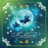 Santa Riding Sleigh in Christmas Night Background. Xmas holidays card with flying Santa, three horses, sleigh, gifts, Holly, moon, lace frame, stars, snowflakes, lights, text on abstract sky backdrop.