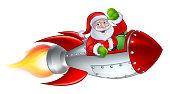 Santa Rocket Sleigh Christmas Cartoon