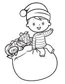 Santa sack and boy