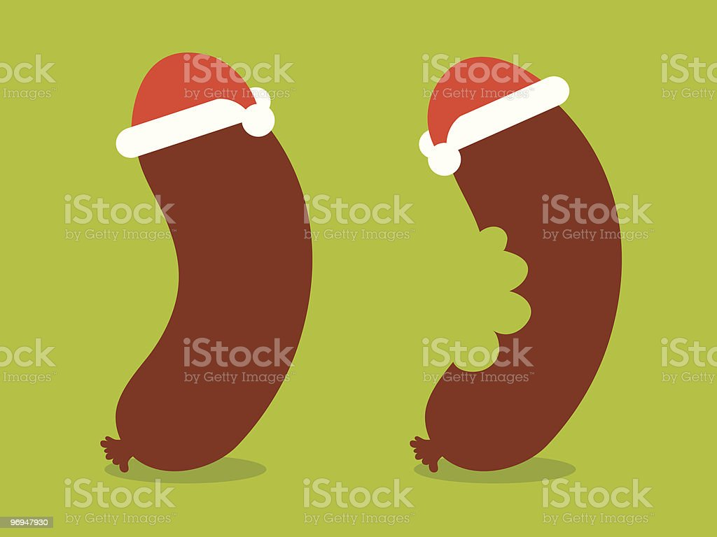 Santa sausage - vector royalty-free santa sausage vector stock vector art & more images of advent