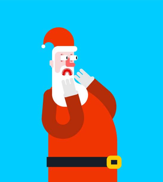 Visage de Santa de peur de la peur. Illustration de Noël et nouvel an - Illustration vectorielle