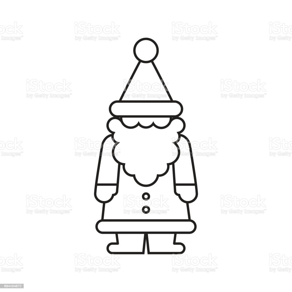 Christmas Gnome Clipart Black And White.Santa Silhouette Stock Illustration Download Image Now