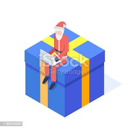 Santa sits on a gift at a laptop isolated on white background. Christmas isometric concept. Vector illustration.