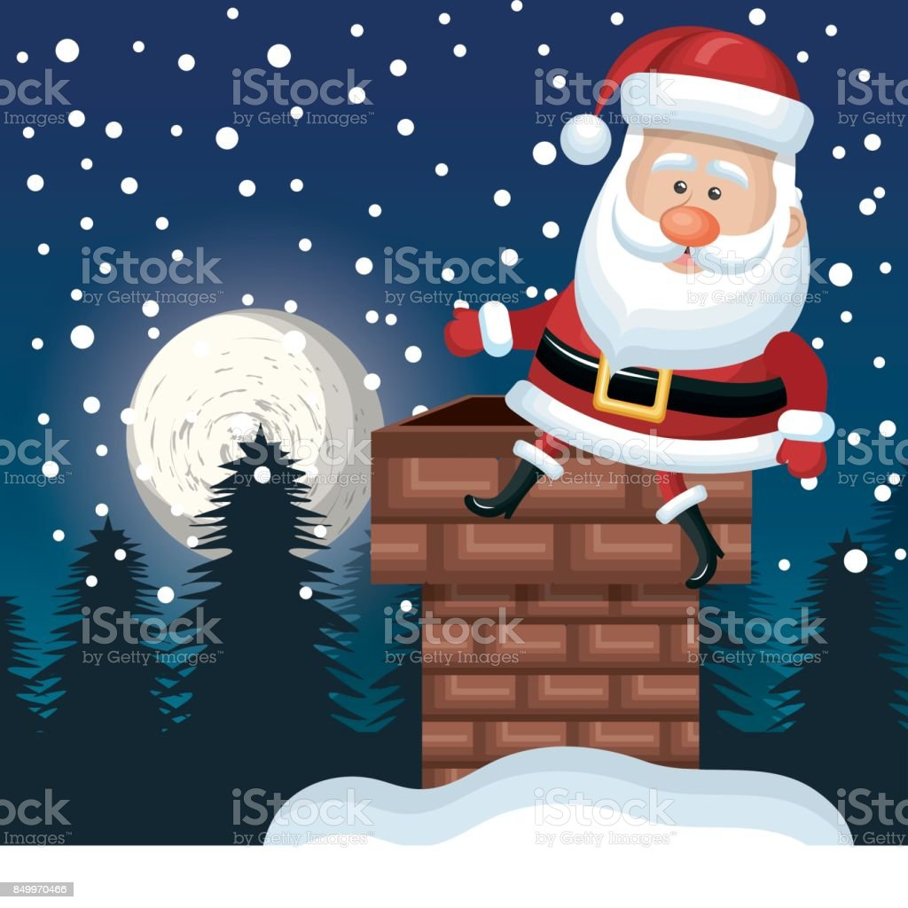santa sitting on chimney. landscape night design vector art illustration