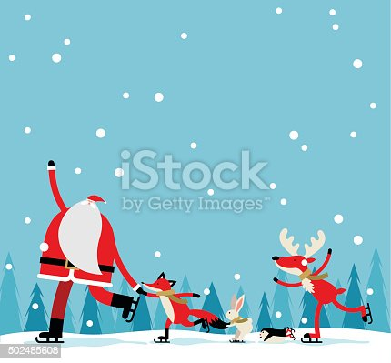 Vector illustration - Santa skate