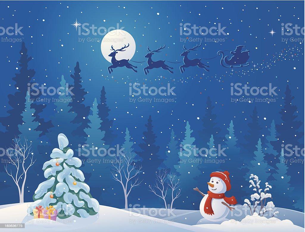 Santa sleigh and greeting snowman vector art illustration