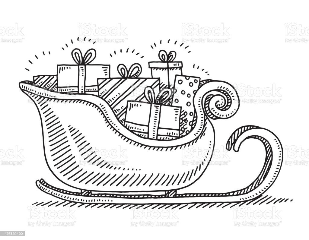 Drawings Of Christmas Presents.Santa Sleigh Christmas Presents Drawing Stock Illustration Download Image Now