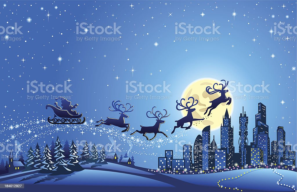 Santa Sleigh Closer to the Big City vector art illustration