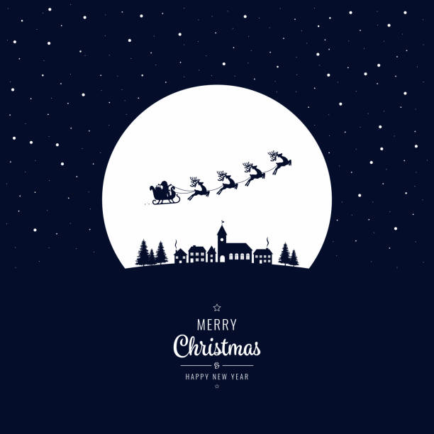 Santa sleigh flying into the winter village christmas night vector art illustration