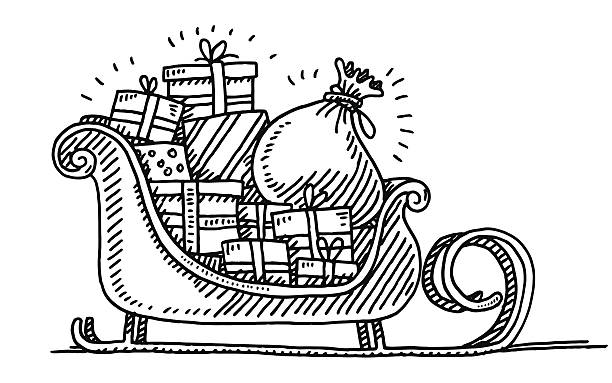 Santa Sleigh Gift Boxes Drawing Hand-drawn vector drawing of a Santa's Sleigh full of Gift Boxes. Black-and-White sketch on a transparent background (.eps-file). Included files are EPS (v10) and Hi-Res JPG. celebration stock illustrations