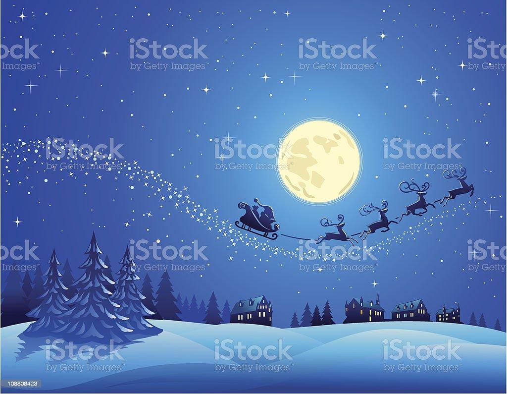 santa sleigh into the christmas sky stock vector art 108808423