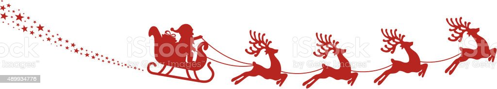 santa sleigh reindeer fly red silhouette stock vector art more