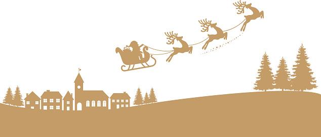 santa sleigh reindeer flying gold silhouette stock. Black Bedroom Furniture Sets. Home Design Ideas