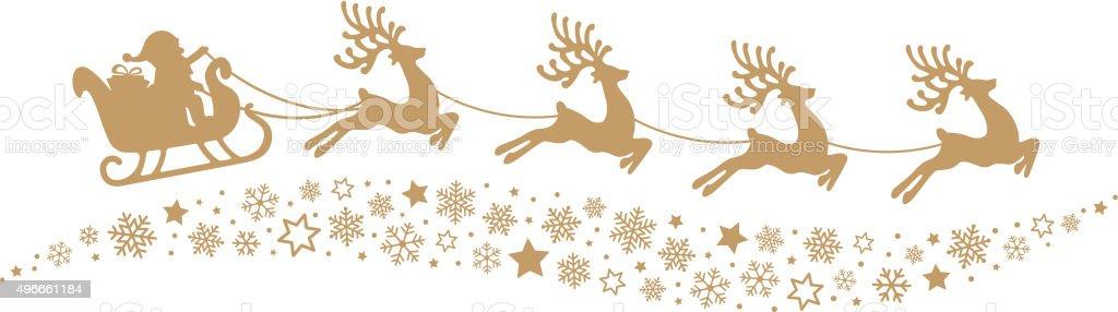 Santa Sleigh Reindeer Flying Snowflakes Gold Silhouette Royalty Free