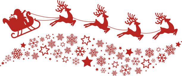 illustrations, cliparts, dessins animés et icônes de santa en traîneau de rennes de flocons de neige silhouette rouge volant - renne