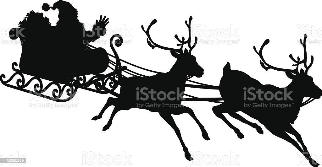 Weihnachtsmann Schlitten Silhouette Stock Vektor Art Und Mehr Bilder