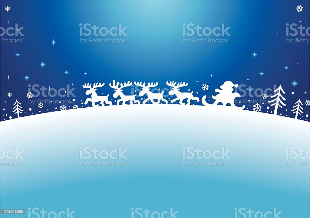 Santa Sleigh Silhouette vector art illustration