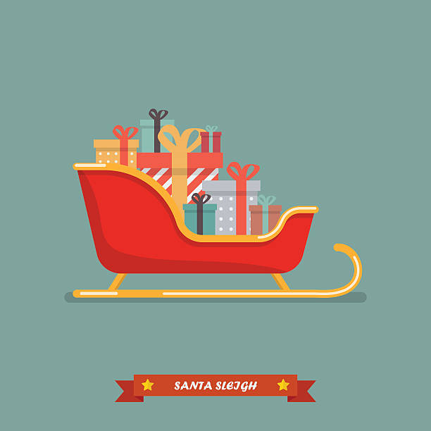 Santa sleigh with piles of presents vector art illustration