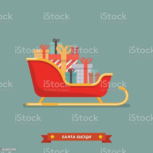 Santa Sleigh With Piles Of Presents Stock Vektor Art und mehr Bilder von Eleganz
