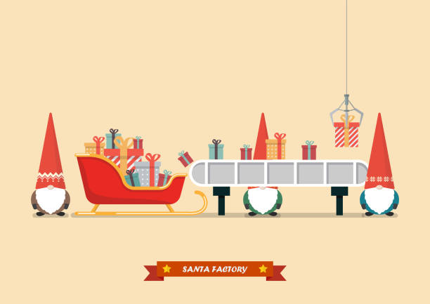 Santa sleigh with piles of presents waiting a gift boxes from robot machine vector art illustration