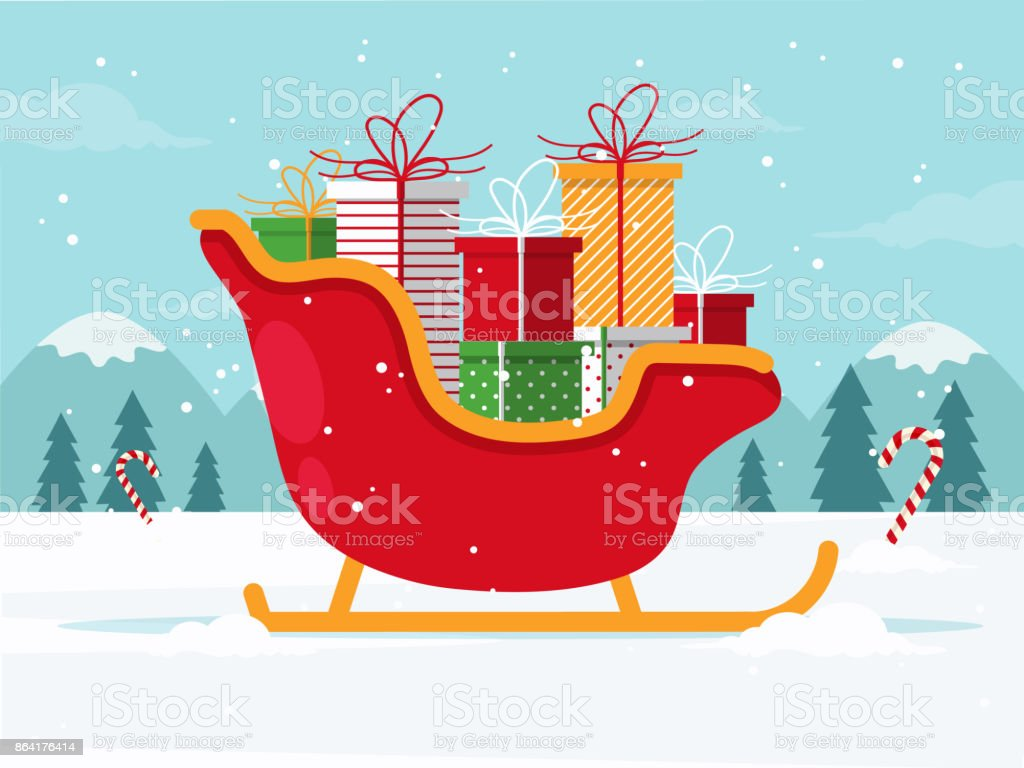 Santa Sleigh with Presents royalty-free santa sleigh with presents stock vector art & more images of backgrounds