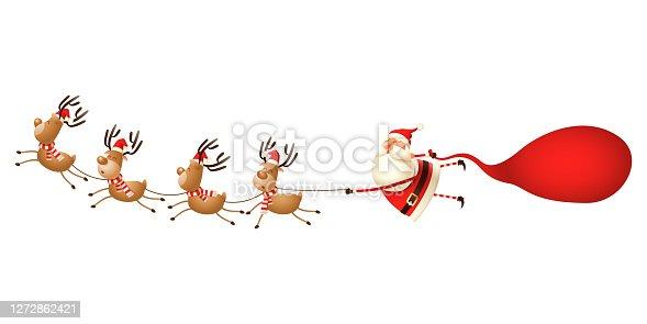 Santa sleight - Cute Santa Claus and Reindeers