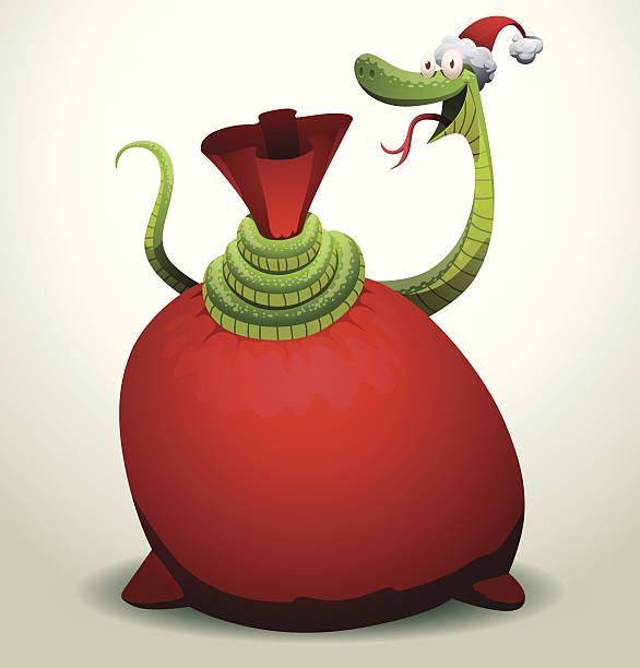 illustrazioni stock, clip art, cartoni animati e icone di tendenza di santa serpente rosso copre una borsa - santa claus tiptoeing