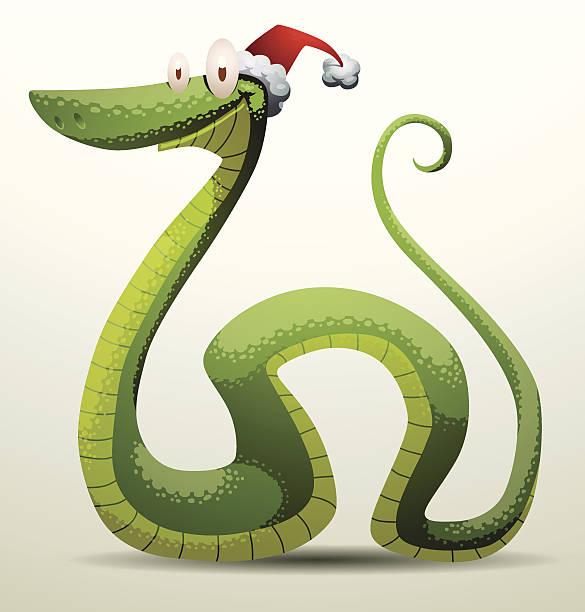 illustrazioni stock, clip art, cartoni animati e icone di tendenza di santa serpente sorridente - santa claus tiptoeing