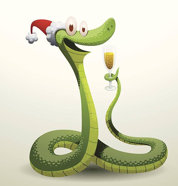illustrazioni stock, clip art, cartoni animati e icone di tendenza di santa serpente con un bicchiere di champagne - santa claus tiptoeing