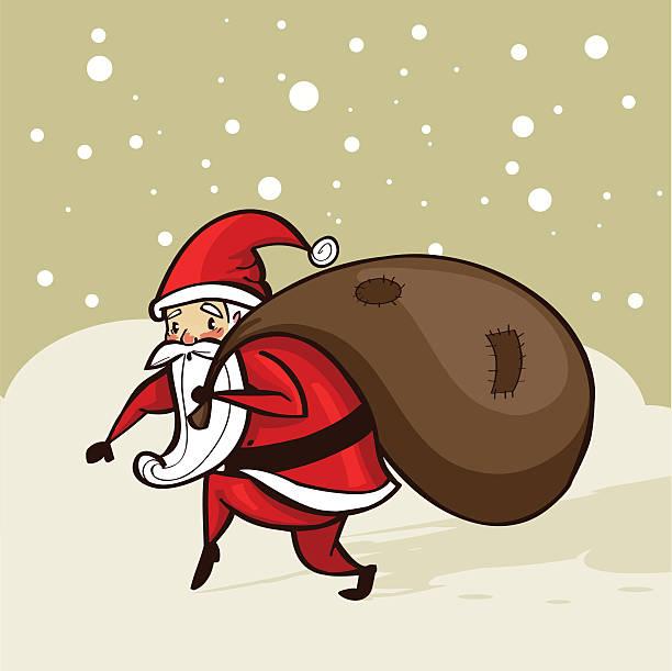 illustrazioni stock, clip art, cartoni animati e icone di tendenza di santa dando la neve - santa claus tiptoeing