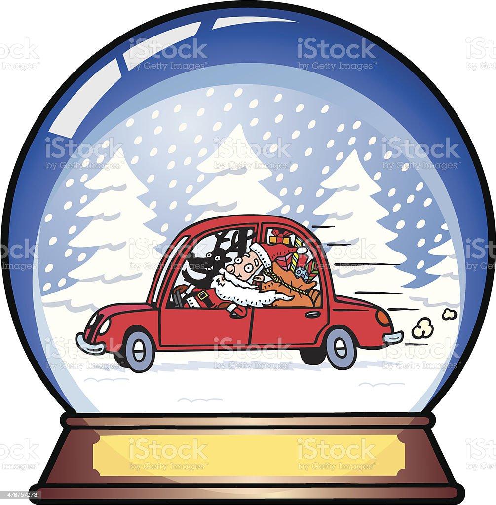 Santa Snow Globe vector art illustration