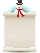 Vector illustration of a cartoon Santa snowman character holding white parchment sign for christmas and winter holidays or children gift list. File is EPS10 and has multiply transparency at 100% on blue radial gradient behind. Snow easy to remove. Vector eps and high resolution jpeg files included