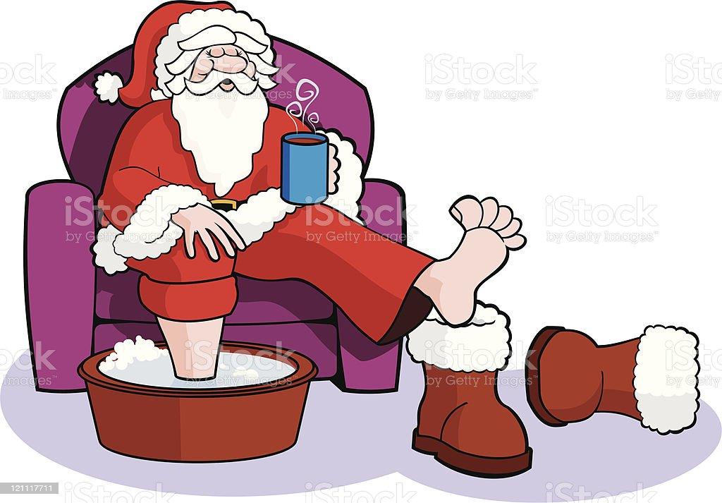 Santa Soaks his Sore Feet royalty-free stock vector art