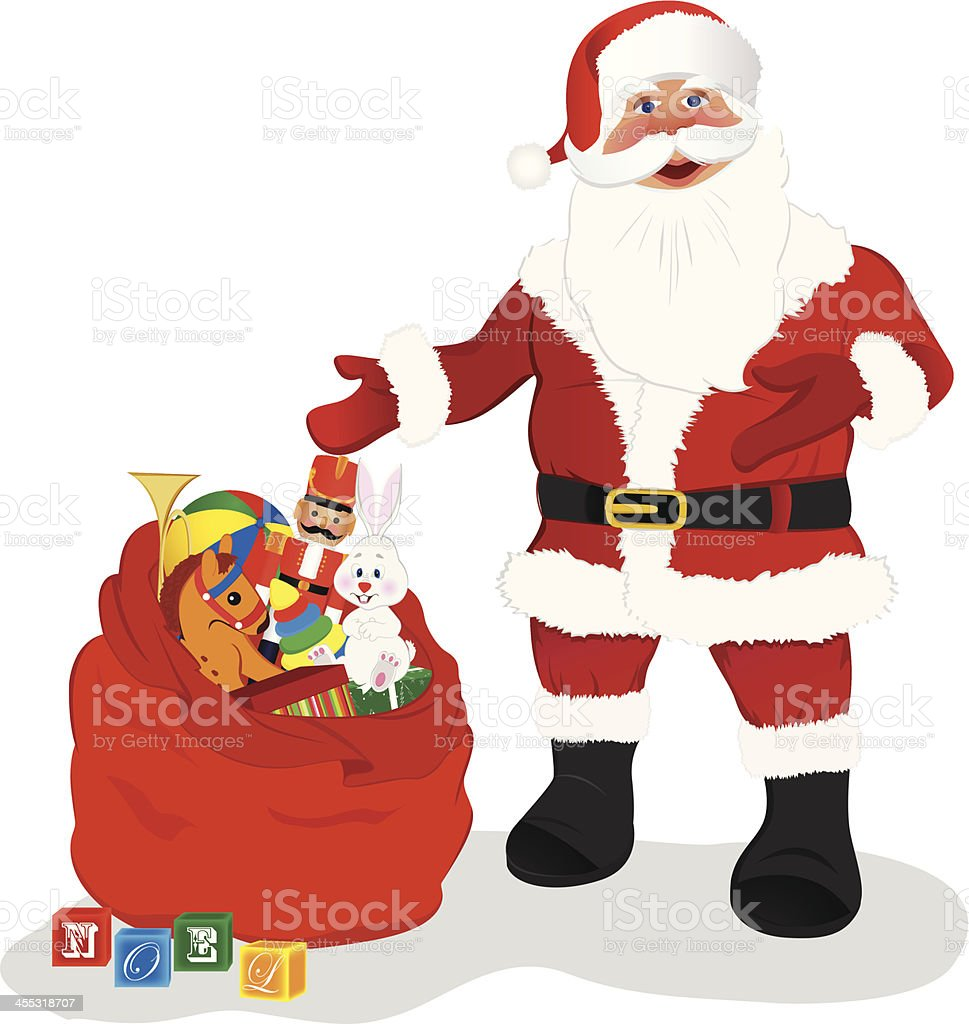 Santa Standing With Gifts royalty-free stock vector art