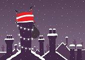 Santa stuck down a chimney at Christmas with snow