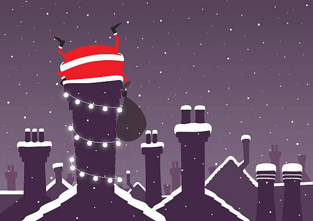 bildbanksillustrationer, clip art samt tecknat material och ikoner med santa stuck down a chimney at christmas with snow - skorsten
