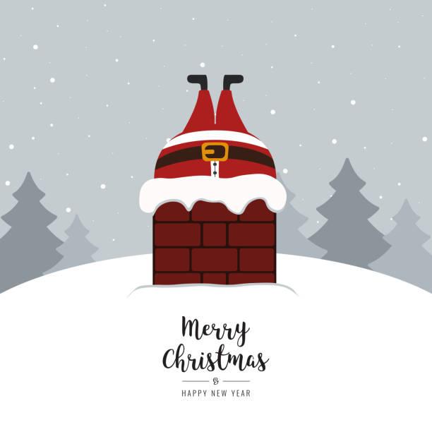 santa stecken im schornstein verschneite winterlandschaft - kamin stock-grafiken, -clipart, -cartoons und -symbole