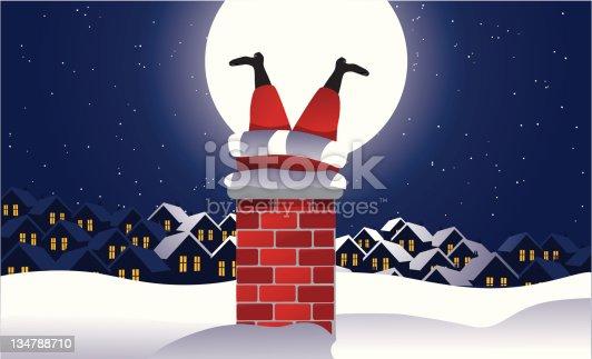 istock Santa stuck in the chimney 134788710