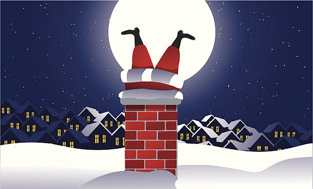 santa feststecken in der chimney - kamin stock-grafiken, -clipart, -cartoons und -symbole