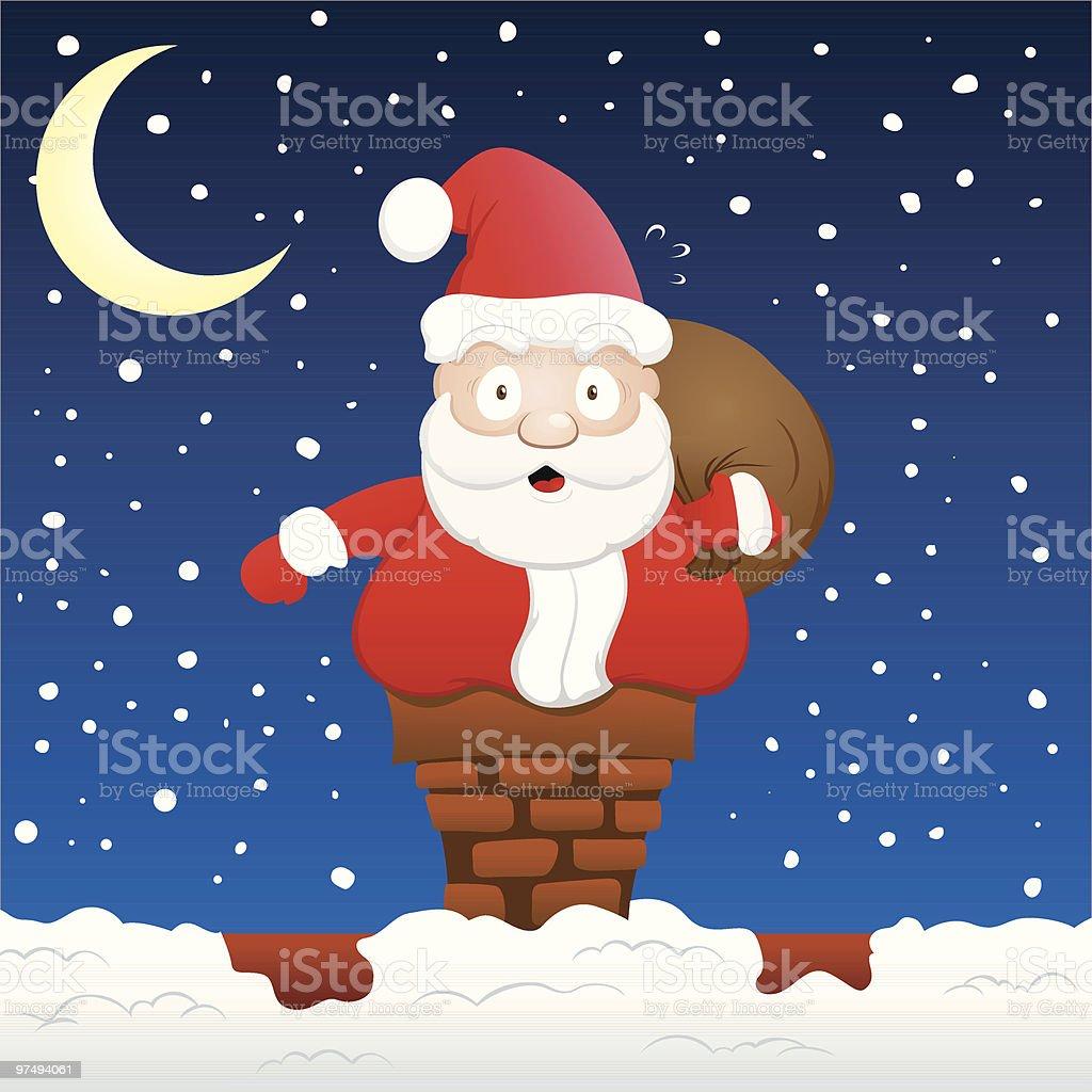 Santa Stuck on a Chimney royalty-free santa stuck on a chimney stock vector art & more images of chimney