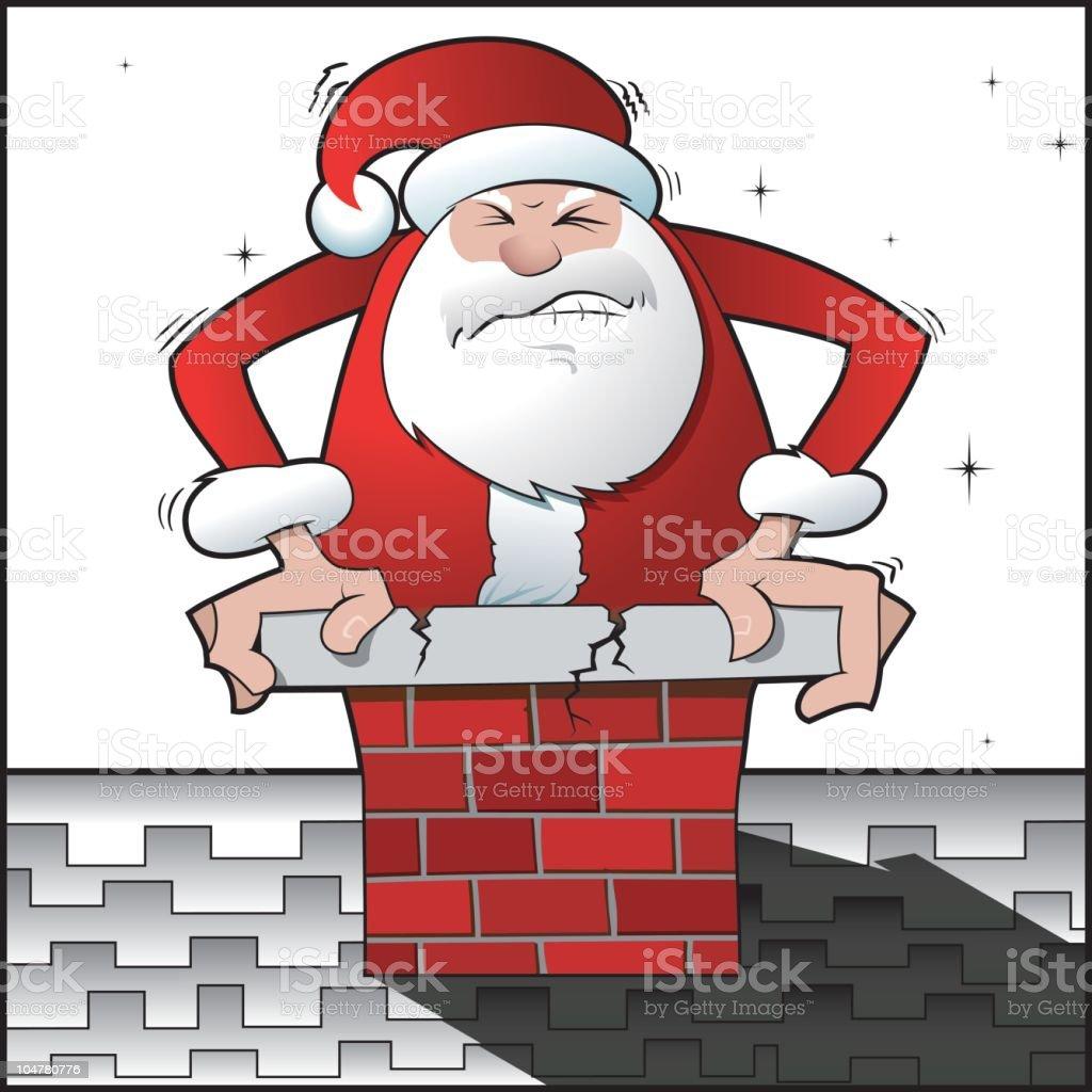 Santa Stuck #2 royalty-free stock vector art